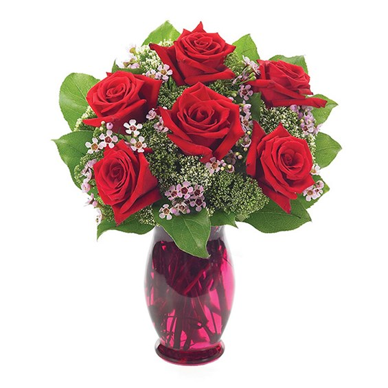 6 Red Roses With Waxflower