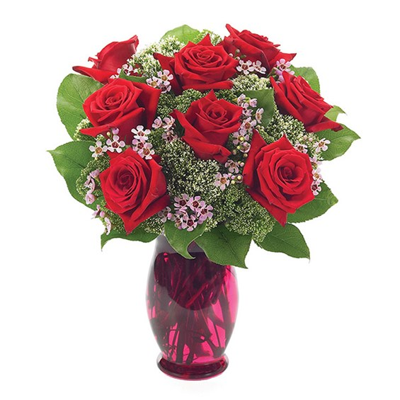 8 Red Roses With Waxflower