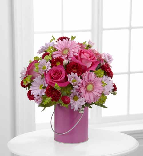 Pink Paint Can Bouquet