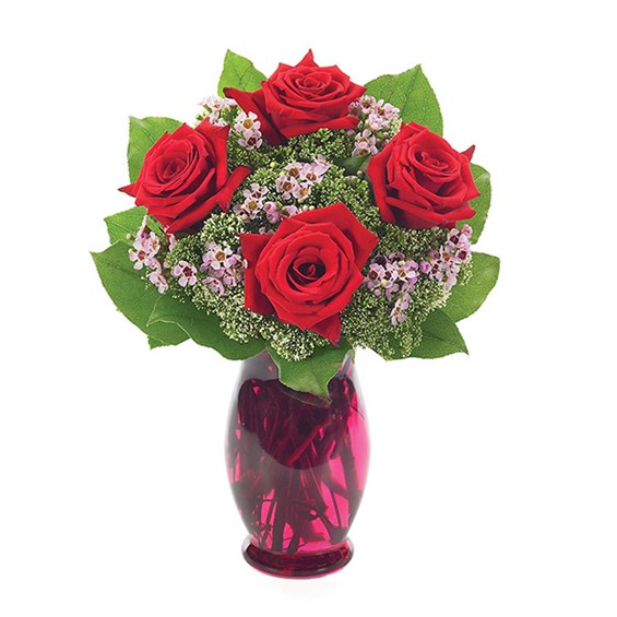4 Red Roses With Waxflower