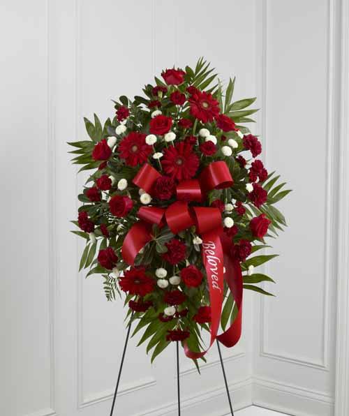 Sympathy for the service standing sprays and wreaths treasured treasured memories standing spray izmirmasajfo