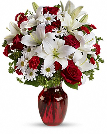 Christmas flowers red roses and white lilies buy from a real red roses and white lilies mightylinksfo